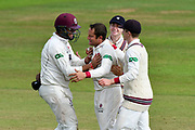 Wicket - Roelof van der Merwe of Somerset celebrates taking the wicket of Tim Murtagh of Middlesex during the Specsavers County Champ Div 1 match between Somerset County Cricket Club and Middlesex County Cricket Club at the Cooper Associates County Ground, Taunton, United Kingdom on 28 September 2017. Photo by Graham Hunt.