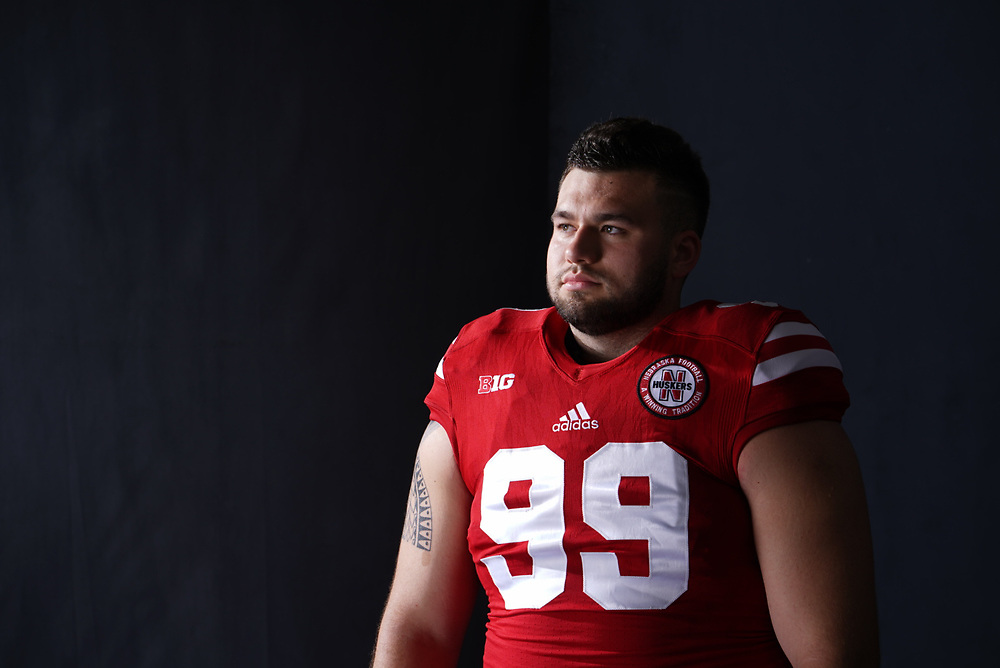 Peyton Newell #99 during a portrait session at Memorial Stadium in Lincoln, Neb. on June 6, 2017. Photo by Paul Bellinger, Hail Varsity