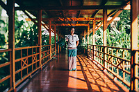 A teak walkway at the Governor's Residence hotel in Yangon, Myanmar.
