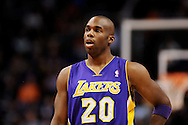 Dec 23, 2013; Phoenix, AZ, USA; Los Angeles Lakers guard Jodie Meeks (20) walks up the court against the Phoenix Suns at US Airways Center. The Suns won 117-90. Mandatory Credit: Jennifer Stewart-USA TODAY Sports