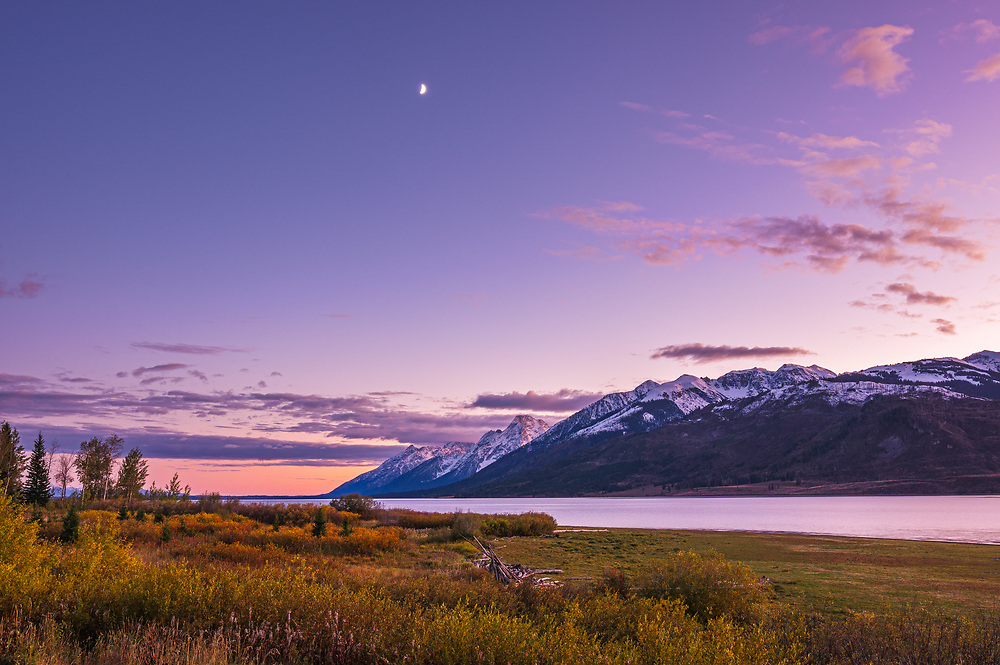 A pastel sky and the low waxing half moon meet the snow capped Grand Teton Mountains ringed by the waters of the massive Jackson Lake and golden autumn foliage as the shifting twilight signifies the day's end.