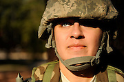 A U.S. Army Soldier stands on the bayonet assault course at Fort Jackson, S.C., on October 23, 2008.