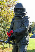 The Bomb Squad Memorial at the National Memorial Arboretum, Croxall Road, Alrewas, Burton-On-Trent,  Staffordshire, on 29 October 2018. Picture by Mick Haynes.