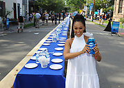 Actress Tia Mowry stands by a 2,000 foot table holding over 6,000 dishes at the Family Dinner with Dawn event in Lambertville, NJ, Sunday, Aug. 13, 2017, to demonstrate how one 21.6 oz bottle of Dawn can wash an entire town's dishes. (Photo by Diane Bondareff/Invision for Dawn/AP Images)