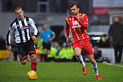 Grimsby Town midfielder John Welsh(4) and MK Dons midfielder Alex Gilbey (8) during the EFL Sky Bet League 2 match between Grimsby Town FC and Milton Keynes Dons at Blundell Park, Grimsby, United Kingdom on 26 January 2019.