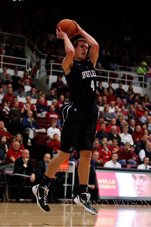 Dec 22, 2011; Stanford CA, USA;  Butler Bulldogs forward Erik Fromm (4) grabs a rebound against the Stanford Cardinal during the first half at Maples Pavilion.  Mandatory Credit: Jason O. Watson-US PRESSWIRE