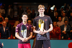 28.10.2018, Wiener Stadthalle, Wien, AUT, ATP Tour, Erste Bank Open, Finale, im Bild Kei Nishikori (JPN), Kevin Anderson (RSA) // Kei Nishikori of Japan, Kevin Anderson of South Africa during the Final Match of the Erste Bank Open of ATP Tour at the Wiener Stadthalle in Wien, Austria on 2018/10/28. EXPA Pictures © 2018, PhotoCredit: EXPA/ Christian Hofer