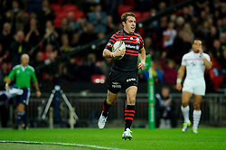 Saracens Outside Centre (#13) Chris Wyles scores a try during the first half of the match - Photo mandatory by-line: Rogan Thomson/JMP - Tel: 07966 386802 - 18/10/2013 - SPORT - RUGBY UNION - Wembley Stadium, London - Saracens v Toulouse - Heineken Cup Round 2.