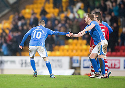 St Johnstone&rsquo;s David Wotherspoon (10) celebrates after scoring their second goal. <br /> St Johnstone 3 v 4Aberdeen, SPFL Ladbrokes Premiership played 6/2/2016 at McDiarmid Park, Perth.