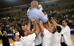 Celebration of Union Olimpija and coach Aleksandar Dzikic after fourth (last) final match of UPC Telemach league and Slovenian  National Championship  between KK Helios Domzale, Domzale and Union Olimpija, Ljubljana, Slovenia, on June 7, 2008, in Komunalni center hall in Domzale. Match was won by Union Olimpija 84:60 and Olimpija became National Champion 2007/2008 fourteen times in history of Slovenia. (Photo by Vid Ponikvar / Sportal Images)