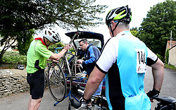 Cyclists have there bikes fixed during the 111 mile cycling challenge organised by the Community Foundations of Bristol and Gloucester Rugby - Mandatory by-line: Robbie Stephenson/JMP - 03/07/2016 - CYCLING - Bannerdown - Bath, United Kingdom - Break The Cycle Challenge 2016