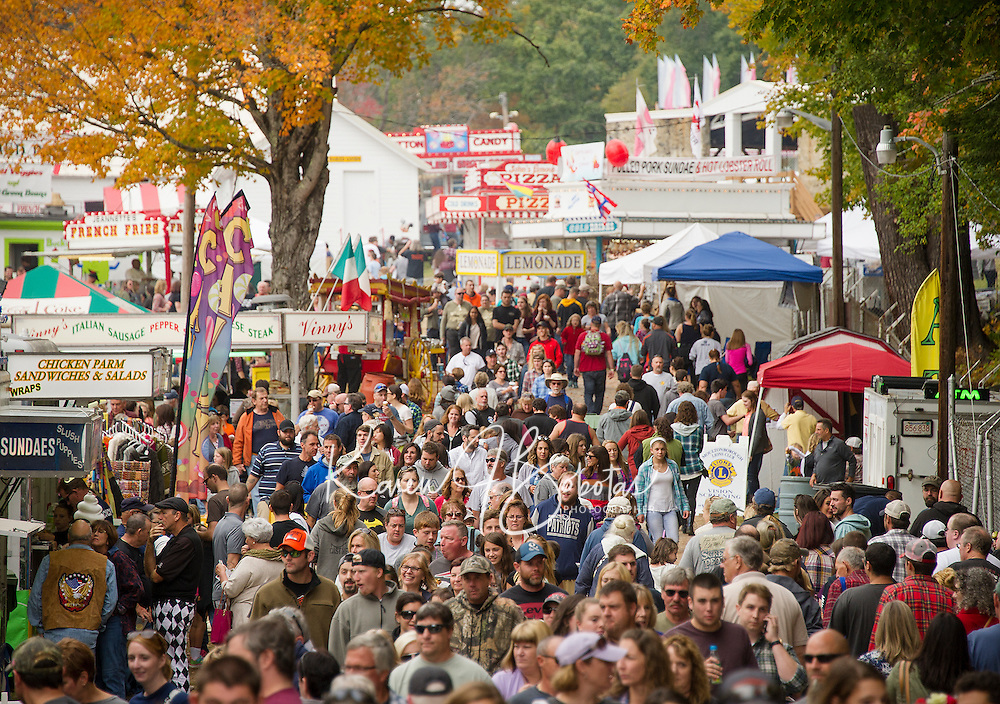 The crowd funneling through the Sandwich Fair on Saturday afternoon.  (Karen Bobotas/for the Laconia Daily Sun)