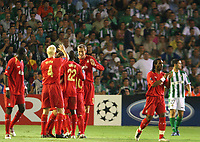 Liverpool fltr Djimi Traore, Sammy Hippia, Momo SIssoko and Peter Crouch celebrate after Luis Garcia scored their second goal against Betis during their Champions League match in Ruiz de Lopera stadium in Seville, Spain, Tuesday 13 September, 2005. (Photo / Alvaro Hernandez)