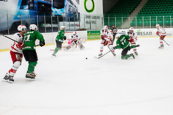 Kernberger Michael of EC Kac II and Koren Gal of HK Olimpija during Ice Hockey match between HK SZ Olimpija and EC KAC II during 1st round of Alps Hockey League 2019/20, on September 14, 2019, in Hala Tivoli, Ljubljana, Slovenia. Photo by Grega Valancic