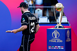 Kane Williamson of New Zealand walks past the Cricket World Cup Trophy after losing in the Final to England - Mandatory by-line: Robbie Stephenson/JMP - 14/07/2019 - CRICKET - Lords - London, England - England v New Zealand - ICC Cricket World Cup 2019 - Final
