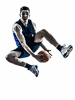 one  man basketball player jumping in silhouette isolated white background