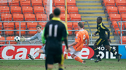 BLACKPOOL, ENGLAND - Wednesday, March 3, 2011: Liverpool's goalkeeper Martin Hansen is beaten by Blackpool's Sergey Kornilenko for the winning goal during the FA Premiership Reserves League (Northern Division) match at Bloomfield Road. (Photo by David Rawcliffe/Propaganda)