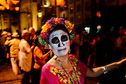 "Dancing on the Zocalo (main square) on the night of the Day of the Dead (""El Dia de los Muertos"")"