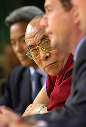 BRUSSELS, BELGIUM - MAY-30-2006 - The Dalai Lama and Graham Watson, leader of the Liberal Democrats of the European Parliament, speak during a press conference at the European Parliament in Brussels. (PHOTO © JOCK FISTICK)