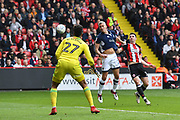 Millwall FC forward Steve Morison (20) heads towards goal during the EFL Sky Bet Championship match between Sheffield United and Millwall at Bramall Lane, Sheffield, England on 14 April 2018. Picture by Ian Lyall.