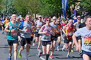 London. United Kingdom. 2014 London Marathon.  Narrow Street Limehouse, East London. Athletics 11:46:15  Sunday  13/04/2014  [Mandatory Credit; Peter SPURRIER/ Intersport Images],