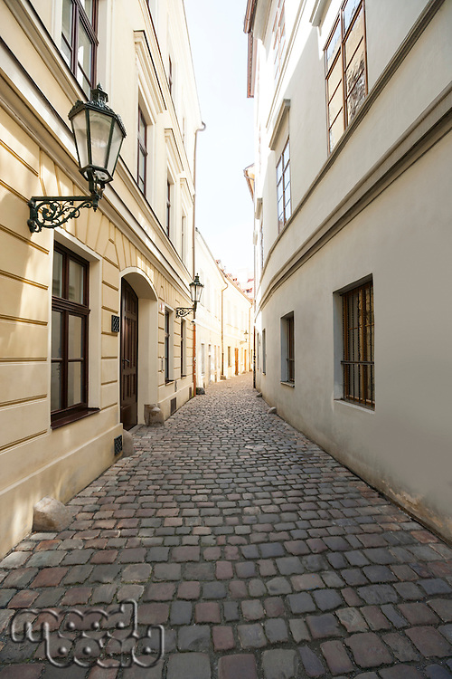 Cobbled alleyway of old city; Prague; Czech Republic