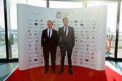 LIVERPOOL, ENGLAND - Thursday, May 12, 2016: Comedian Russel Howard [R] and friend arrive on the red carpet for the Liverpool FC Players' Awards Dinner 2016 at the Liverpool Arena. (Pic by David Rawcliffe/Propaganda)