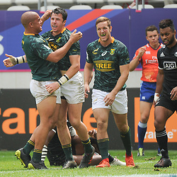 Ruhan Nel of South Africa celebrates his try with teammates during the Semi Final match between New Zealand and South Africa at the HSBC Paris Sevens, stage of the Rugby Sevens World Series at Stade Jean Bouin on June 10, 2018 in Paris, France. (Photo by Sandra Ruhaut/Icon Sport)