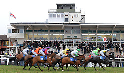 General view as horses make their way past the grandstand during the Chepstow Racecourse Staff Away Days Mares' Standard Open NH Flat Race (Class 6) (4yO to 6YO)  - Photo mandatory by-line: Harry Trump/JMP - Mobile: 07966 386802 - 09/03/15 - SPORT - Equestrian - Horse Racing - Taunton Racing - Taunton Racecourse, Somerset, England.