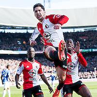 ROTTERDAM  - Feyenoord - PSV , eredivisie , voetbal , Feyenoord stadion de Kuip , seizoen 2014/2015 , 22-03-2015 , eindstand 2-1 , Feyenoord speler Anass Achahbar viert zijn 1-0 met Elvis Manu (l) en Terence Kongolo (r)