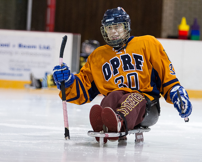 OPRF boys versus Chicago Hornets sled hockey team.