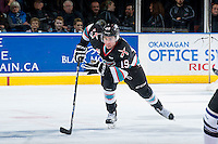 KELOWNA, CANADA - OCTOBER 9: Dillon Dube #19 of Kelowna Rockets skates against the Victoria Royals on OCTOBER 9, 2015 at Prospera Place in Kelowna, British Columbia, Canada.  (Photo by Marissa Baecker/Getty Images)  *** Local Caption *** Dillon Dube;