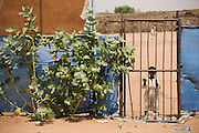 A child peers through a gate at western visitors to the 4 sq km Abu Shouk refugee camp, which is  (disputedly) home to 38,000 displaced persons, on the outskirts of Al Fasher, North Darfur, Sudan.