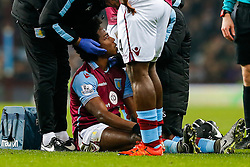 Carlos Sanchez of Aston Villa receives treatment for a cut eye - Mandatory byline: Rogan Thomson/JMP - 19/01/2016 - FOOTBALL - Villa Park Stadium - Birmingham, England - Aston Villa v Wycombe Wanderers - FA Cup Third Round Replay.