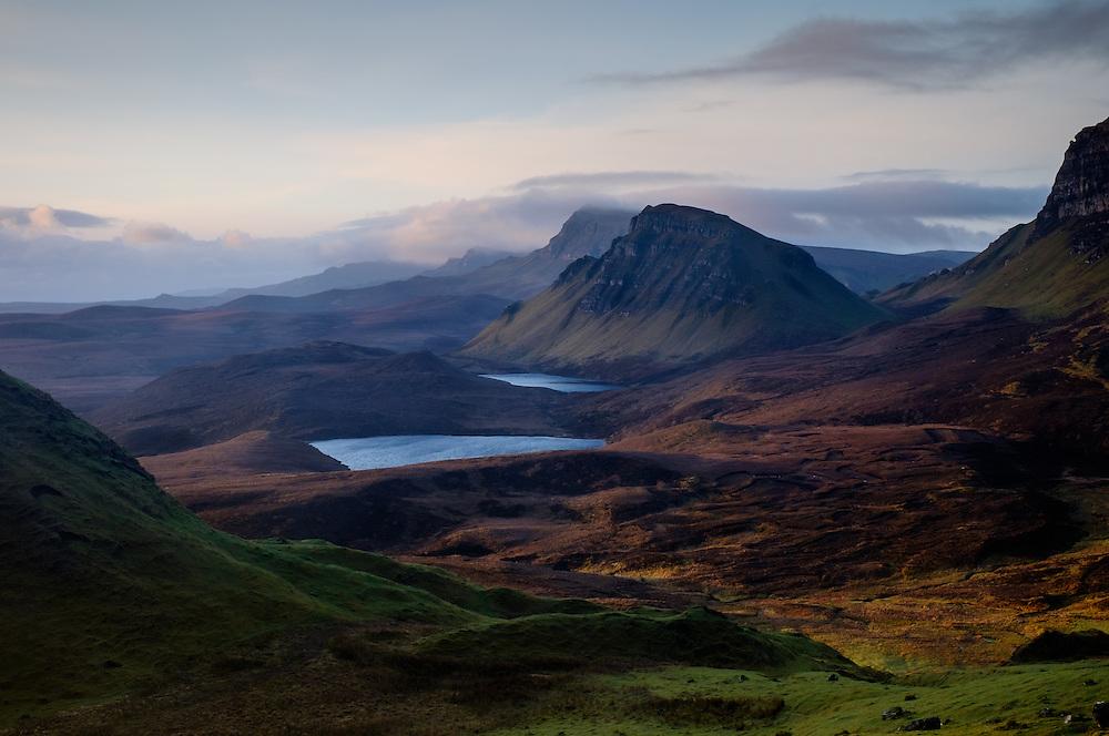 SCOTLAND - CIRCA APRIL 2016: Sunrise in the Quiraing a popular tourist attraction near Staffin in Skye an Island in Scotland