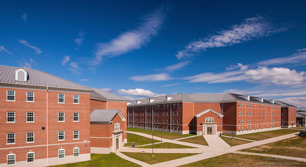 Exterior image of The Basic School Dorm building at Quantico Marine Base by Jeffrey Sauers of Commercial Photographics