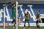 Burton goalkeeper Jon McLaughlin catching a cross in the Sky Bet League 1 match between Colchester United and Burton Albion at the Weston Homes Community Stadium, Colchester, England on 23 April 2016. Photo by Nigel Cole.