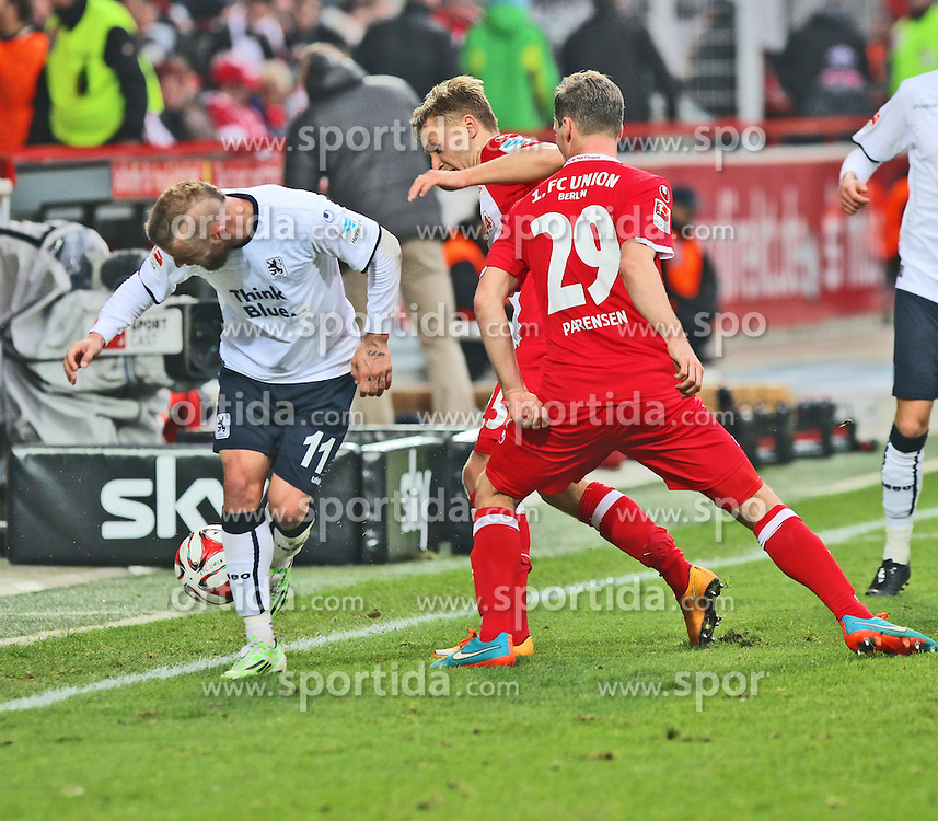 22.11.2014, Alte F&ouml;rsterei, Berlin, GER, 2. FBL, 1. FC Union Berlin vs TSV 1860 Muenchen, 14. Runde, im Bild Daniel Adlung (TSV 1860 Muenchen) muss den Ball ins Seitenaus rutschen lassen // SPO during the 2nd German Bundesliga 14th round match between 1. FC Union Berlin and TSV 1860 Muenchen at the Alte F&ouml;rsterei in Berlin, Germany on 2014/11/22. EXPA Pictures &copy; 2014, PhotoCredit: EXPA/ Eibner-Pressefoto/ Hundt<br /> <br /> *****ATTENTION - OUT of GER*****