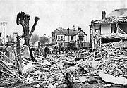 The first British casualties of the German bombing of England were at Clacton-on-Sea, Essex, 30 April 1940.   Houses reduced to rubble.  World War II.