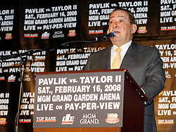 December 11, 2007; New York, NY, USA;  Promoter Bob Arum speaks at the press conference announcing the rematch between Unbeaten World Middleweight Champion Kelly Pavlik and former champion Jermain Taylor, which will take place Saturday, February 16, 2008, at MGM Grand in Las Vegas, NV.  Taylor missed attending the press conference due to the birth of his baby girl on Monday evening.