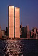 NYC, NY, Golden Twin Towers, World Trade Center, designed by Minoru Yamasaki, International Style II, sunset