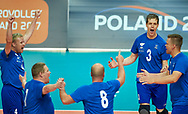 Katowice, Poland - 2017 September 02: Team SO Finland celebrate their winning point while SO Azerbaijan versus SO Finland match during European Unified Volleyball Tournament 2017 at Spodek Hall on September 02, 2017 in Katowice, Poland.<br /> <br /> Adam Nurkiewicz declares that he has no rights to the image of people at the photographs of his authorship.<br /> <br /> Picture also available in RAW (NEF) or TIFF format on special request.<br /> <br /> Any editorial, commercial or promotional use requires written permission from the author of image.<br /> <br /> Image can be used in the press when the method of use and the signature does not hurt people on the picture.<br /> <br /> Mandatory credit:<br /> Photo by © Adam Nurkiewicz / Mediasport
