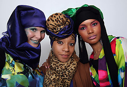 Nailah Lymus (centre) with models Caroline Hey and Ruth Rojas at the launch of her Underwraps Muslim  model agency launch in  New York , Saturday 11th February 2012.  Photo by: Stephen Lock / i-Images.  Words and quotes for this event can be supplied by Gemma Champ: +44 7974 211258. Email:gemmachamp@yahoo.co.uk