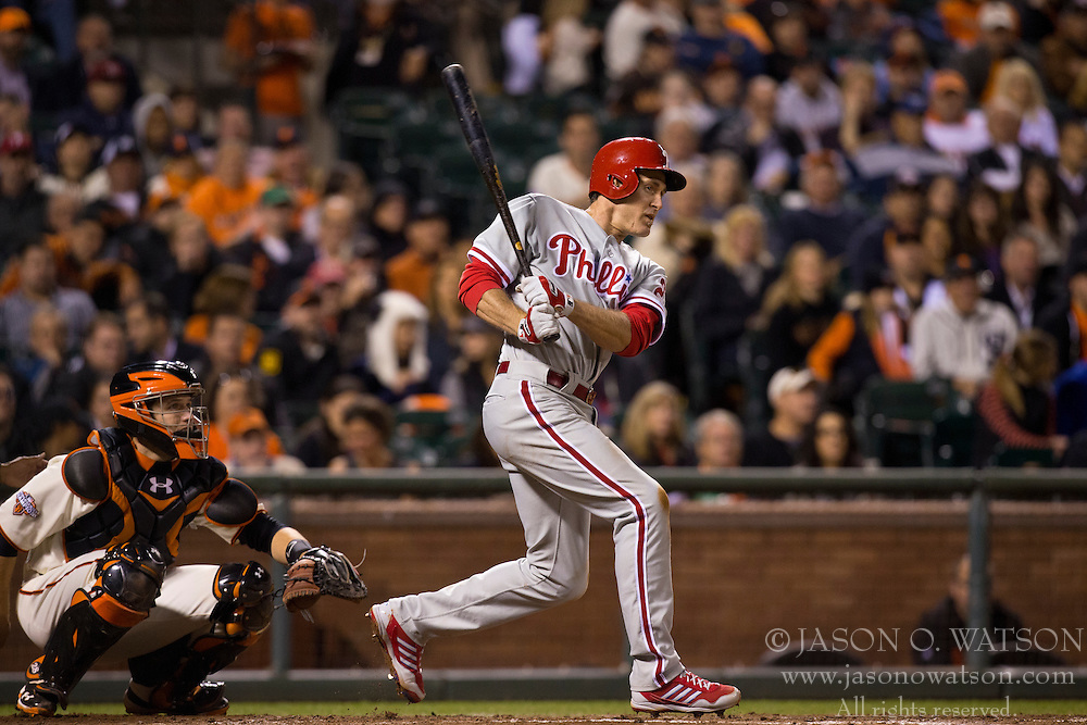 SAN FRANCISCO, CA - MAY 06: Chase Utley #26 of the Philadelphia Phillies hits a single against the San Francisco Giants during the seventh inning at AT&T Park on May 6, 2013 in San Francisco, California. The Philadelphia Phillies defeated the San Francisco Giants 6-2. (Photo by Jason O. Watson/Getty Images) *** Local Caption *** Chase Utley
