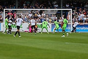 Dovers Ricky Miller equalises, 1-1 during the Vanarama National League match between Dover Athletic and Forest Green Rovers at Crabble Athletic Ground, Dover, United Kingdom on 10 September 2016. Photo by Shane Healey.