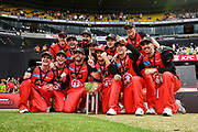 17th February 2019, Marvel Stadium, Melbourne, Australia; Australian Big Bash Cricket League Final, Melbourne Renegades versus Melbourne Stars; Melbourne Renegades players celebrate winning their BBL 08 final