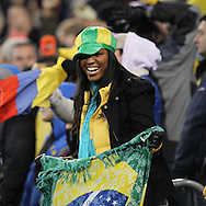 A Brazilian fan during the Brazil vs Colombia friendly soccer match at MetLife Stadium in East Rutherford, NJ. Brazil and Colombia tied 1-1.