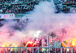 04.03.2018, Red Bull Arena, Salzburg, AUT, 1. FBL, FC Red Bull Salzburg vs SK Rapid Wien, 25. Runde, im Bild Radid Fansektor mit bengalischen Fackeln und Transparente // during Austrian Football Bundesliga 25th round Match between FC Red Bull Salzburg and SK Rapid Wien at the Red Bull Arena, Salzburg, Austria on 2018/03/04. EXPA Pictures © 2018, PhotoCredit: EXPA/ JFK