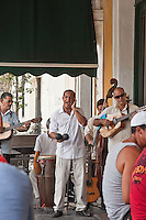 Cuban band playing in a restaurant during lunch at an Old Havana restaurant.