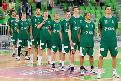 Players of Krka during basketball match between KK Union Olimpija and KK Krka in 4th Final match of Telemach Slovenian Champion League 2011/12, on May 24, 2012 in Arena Stozice, Ljubljana, Slovenia.  (Photo by Vid Ponikvar / Sportida.com)